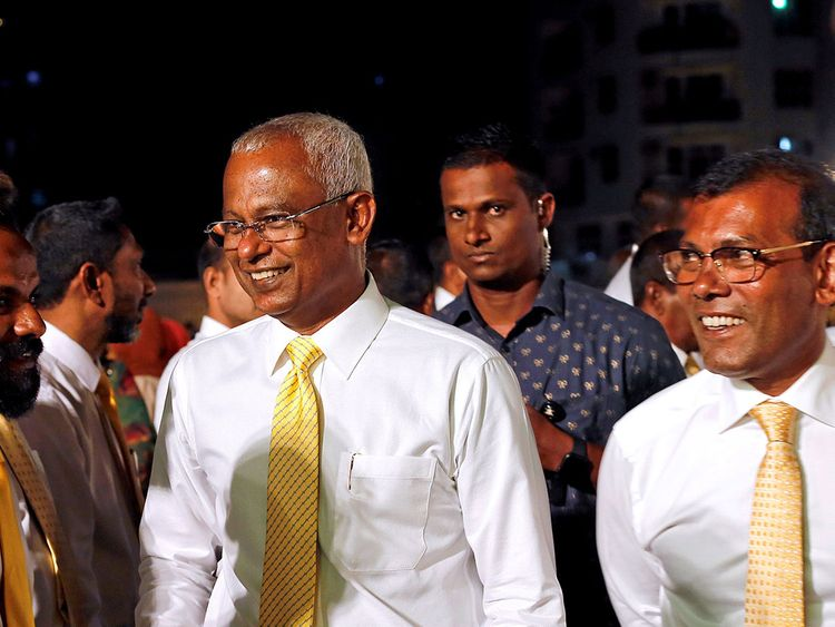 Maldives President Ibrahim Mohamed Solih and former president Mohamed Nasheed