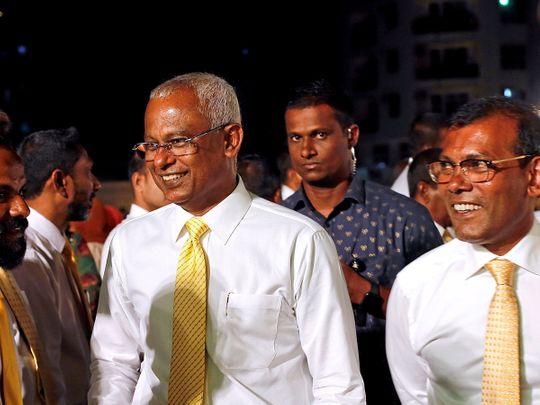 Maldives President Ibrahim Mohamed Solih and former president Mohamed Nasheed