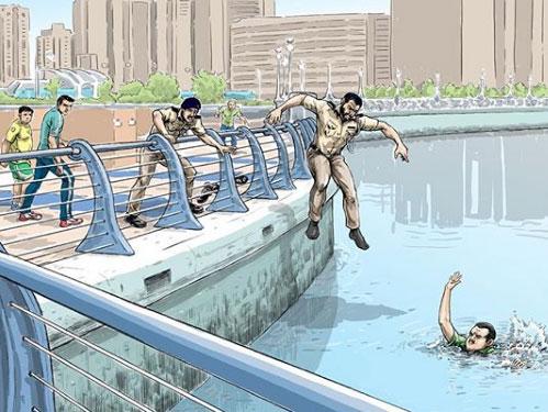 Police rescue man illustration