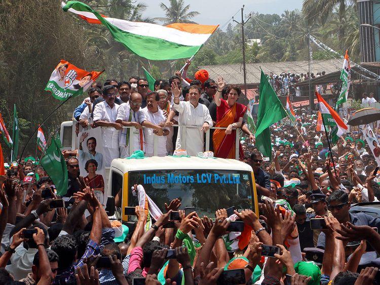 Rahul Gandhi with Priyanka Gandhi Vadra