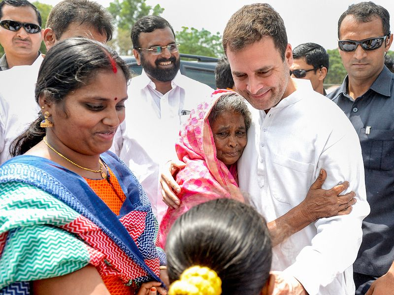 Rahul Gandhi with supporters