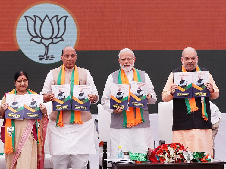 Indian Prime Minister Narendra Modi, chief of BJP Amit Shah