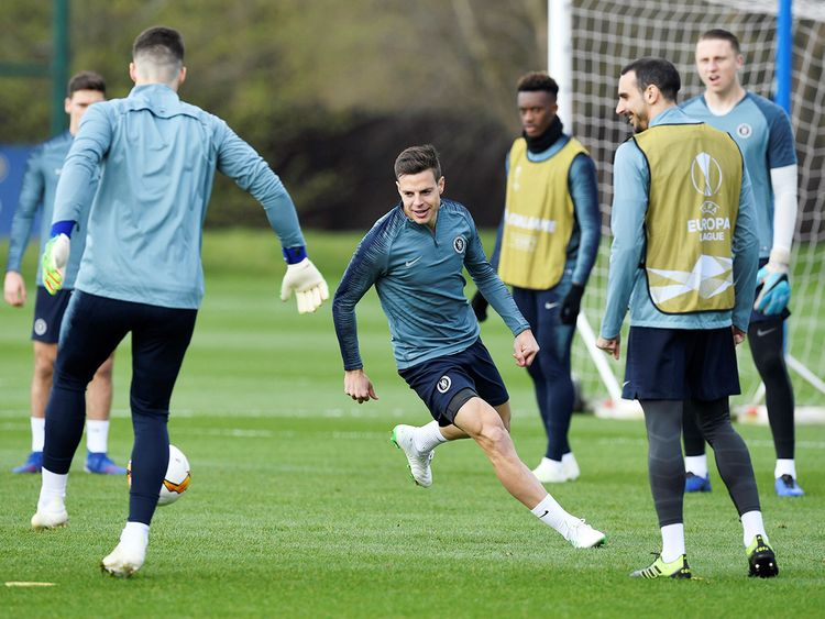 Chelsea players seen during training at Cobham