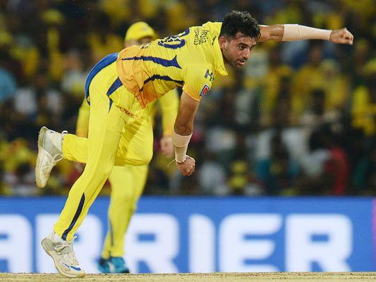 Chennai Super Kings' Deepak Chahar bowls