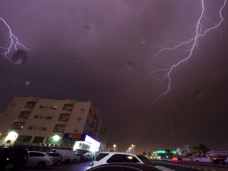 Lightning over the sky of Ajman's Al Zahra Area 2