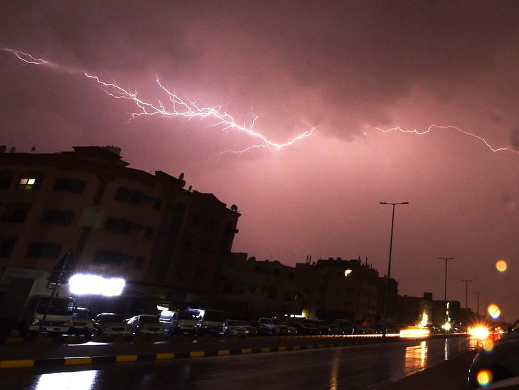 Lightning over the sky of Ajman's Al Zahra Area