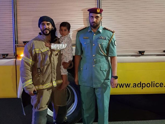 Sharjah Police and firefighter
