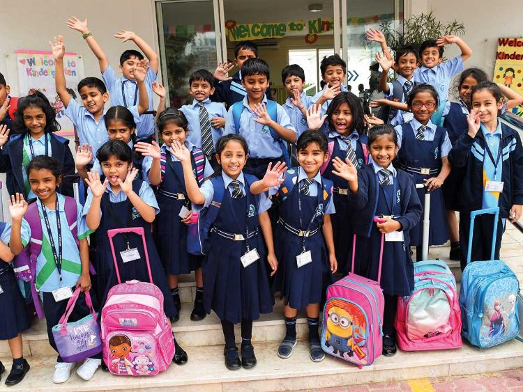 Students of JSS Private School in Dubai yesterday. Indian schools start a new academic year in April while most other schools start a new cycle in September.