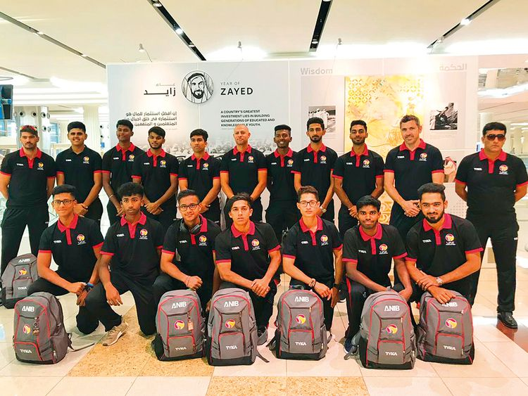 UAE Under-19 team at Dubai International Airport