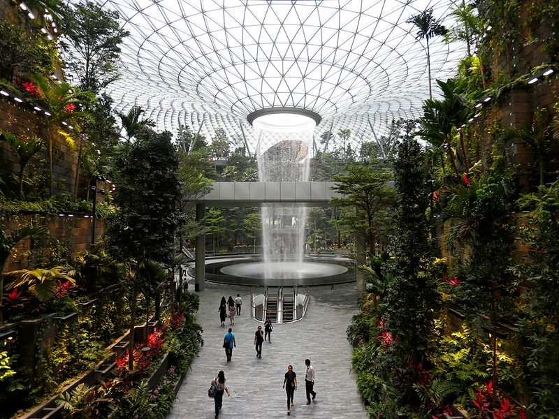 The 40-metre high Rain Vortex is seen from inside Jewel Changi Airport