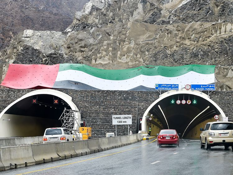 The entrance of Al Raugh tunnel on the new Sharjah-Khor Fakkan road.
