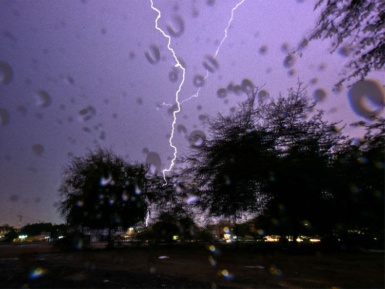 Thunder and lightning light up Dubai skies
