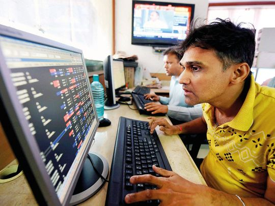 Brokers at the Bombay Stock Exchange