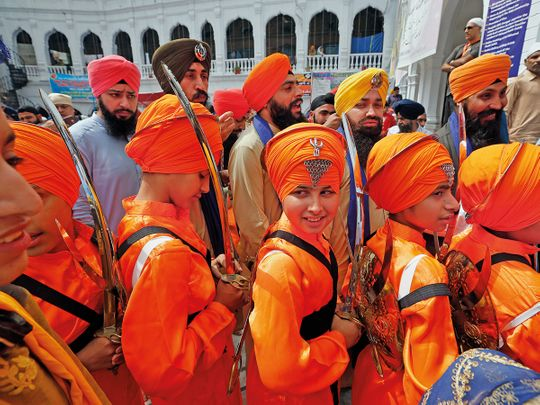 Sikh youth at a ceremony during Basakhi