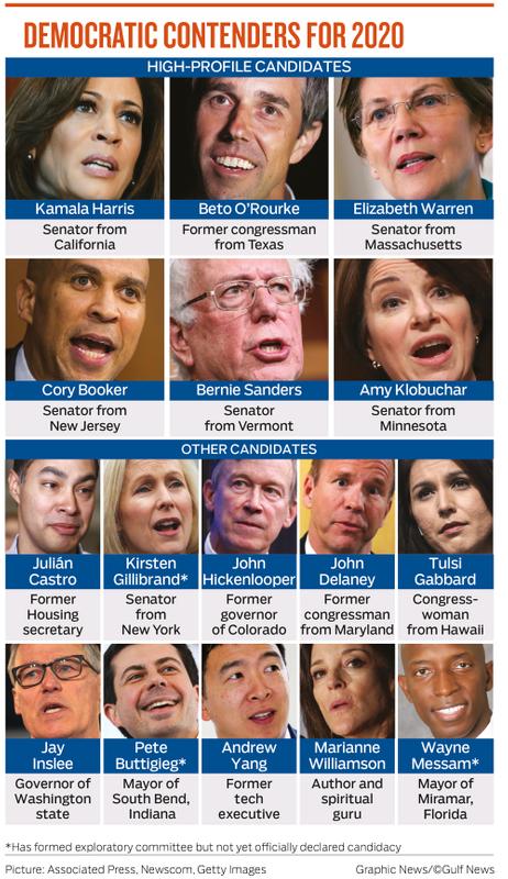 DEMOCRATIC CONTENDERS FOR 2020