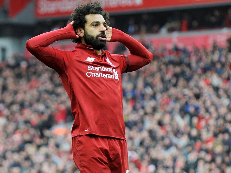Liverpool's Mohammad Salah celebrates