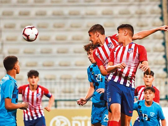 Action from the match between Atletico Madrid and Hatta