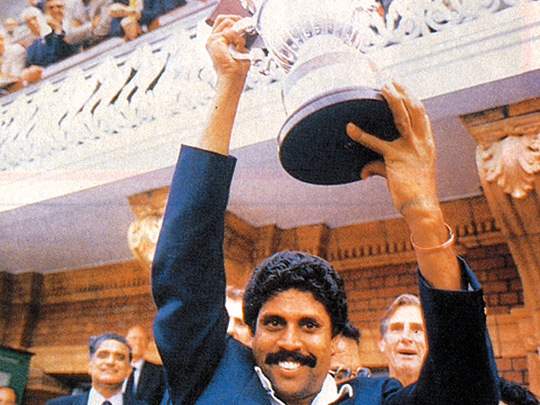 Kapil Dev with the World Cup at Lords