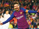 Barcelona's Lionel Messi celebrates