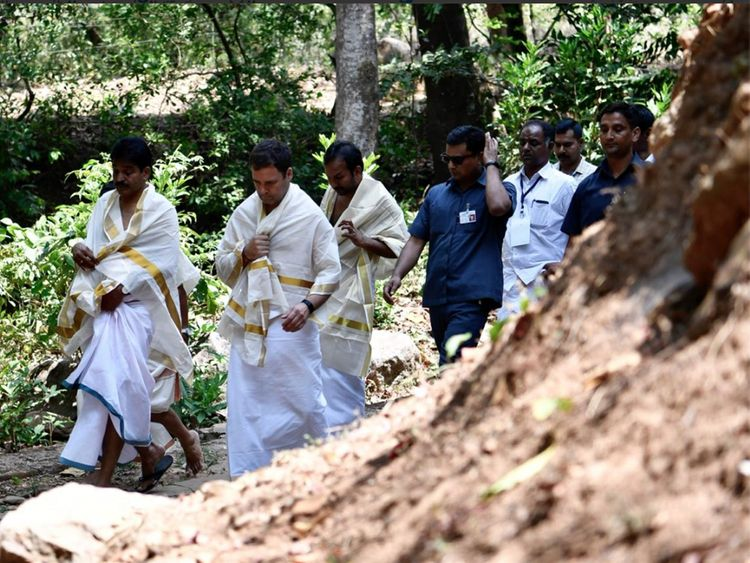 Rahul Gandhi during his visit to the Thirunelli Temple