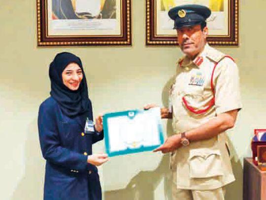 Brig Ali Atiq Bin Lahej honours Hanan Hussain Mohammad