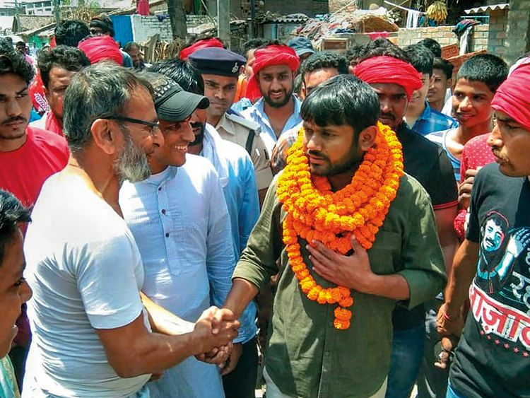 CPI candidate Kanhaiya Kumar interacts with potential voters