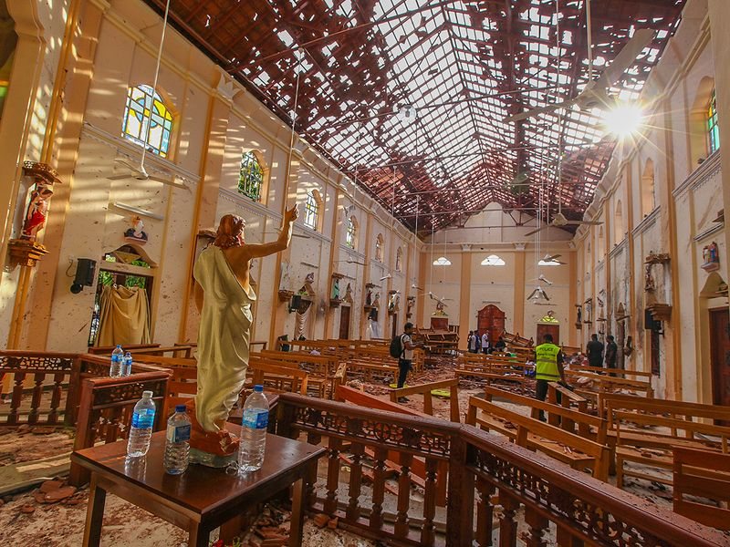 A view of St. Sebastian's Church damaged in blast in Negombo