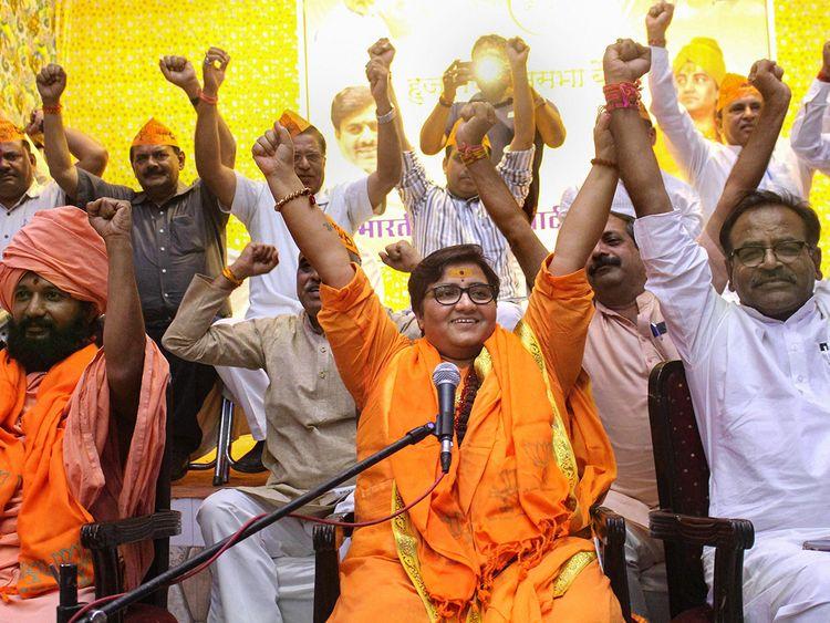 BJP candidate Sadhvi Pragya Singh Thakur gestures