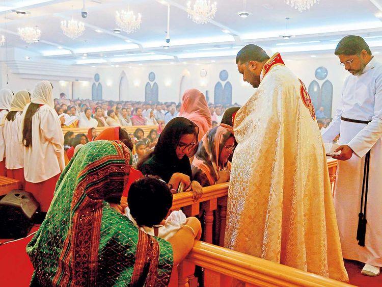 Christians attend the Easter Mass at the Dubai Mar Thoma Church 01