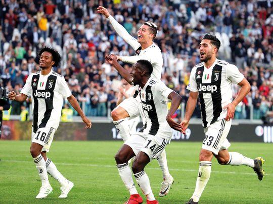 Juventus' Juan Cuadrado, Cristiano Ronaldo, Blaise Matuidi