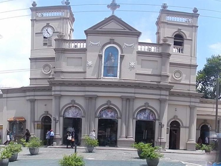 The facade of St. Anthony's Shrine in Kochchikade, Colombo 01