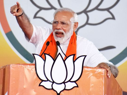 Prime Minister Narendra Modi addresses an election campaign rally in Bareilly