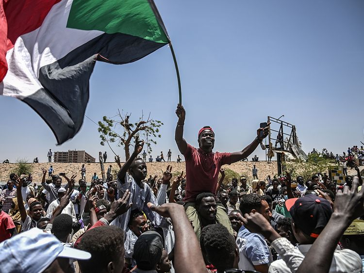 Sudanese protesters shout slogans