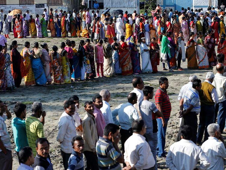Voters line up to cast their votes