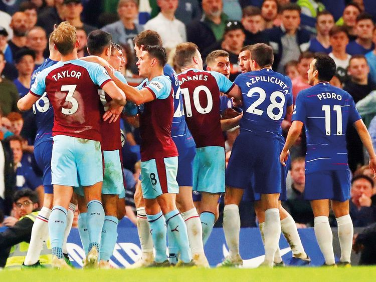 Chelsea and Burnley players clash
