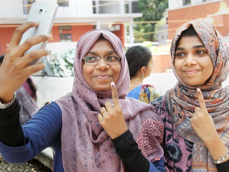 Young voters take a selfie
