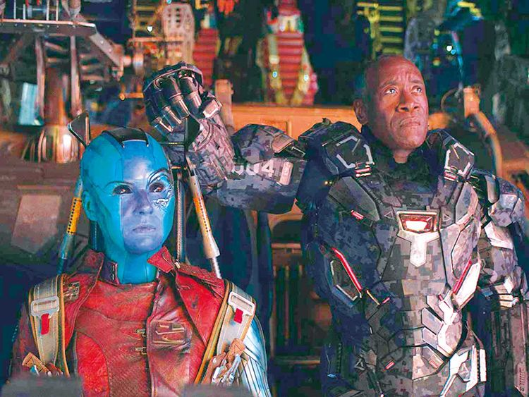 190425 Karen Gillan and Don Cheadle in 'Avengers: Endgame'.