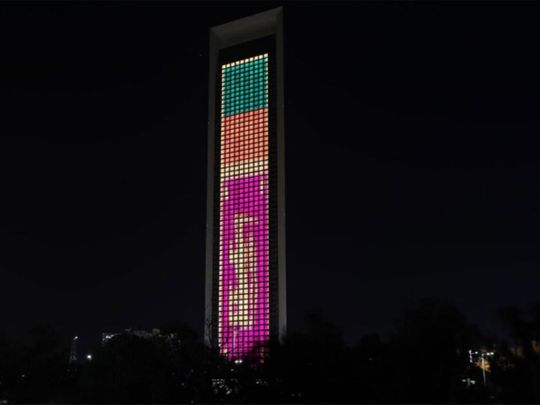 Adnoc building with Sri Lanka colours