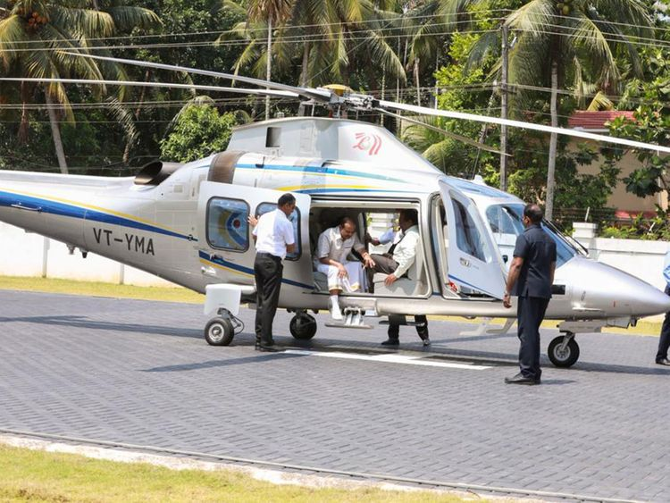 Lulu boss Yousuf Ali lands in a private helicopter to cast his vote