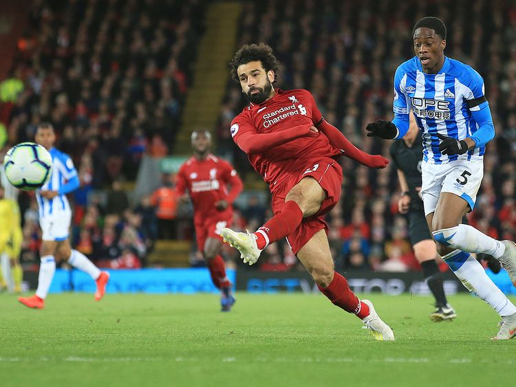 Mohammad Salah shoots on goal