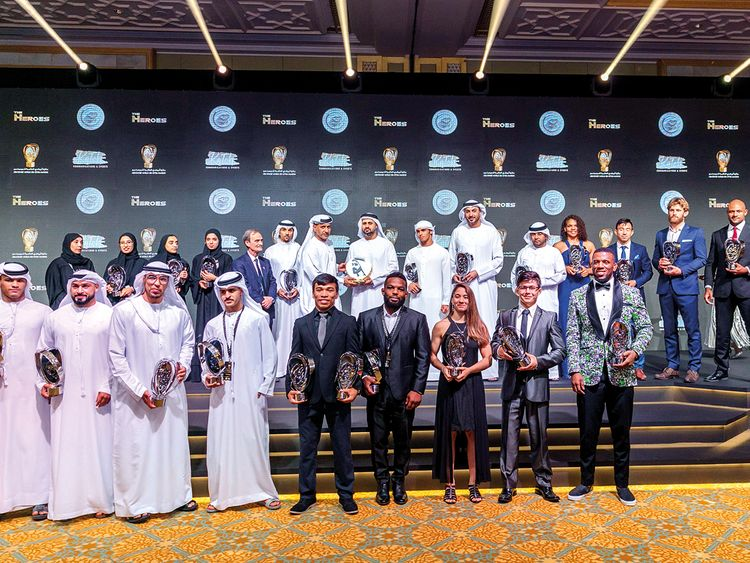 Shaikh Theyab with the winners and officials