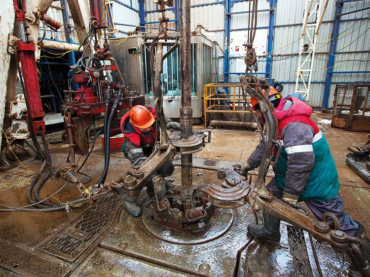 Workers at an oil rig in Tatarstan, Russia