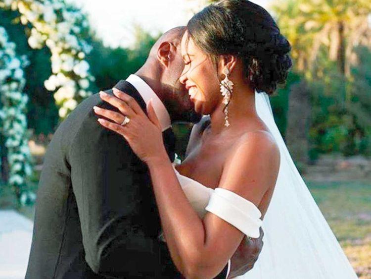 190429 Idris Elba and Sabrina Dhowre at their wedding.