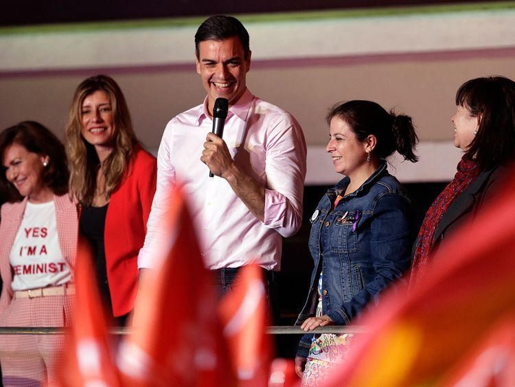 Spanish Prime Minister and Socialist Party candidate Pedro Sanchez