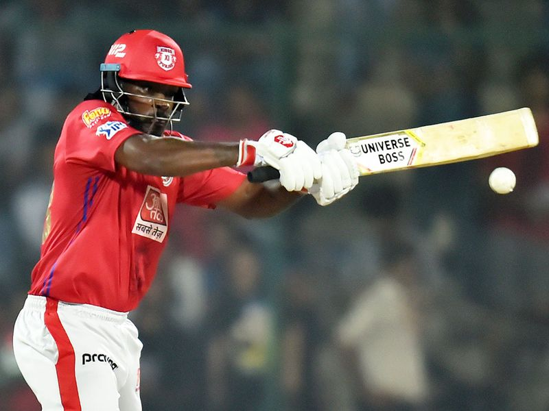 Kings XI Punjab's Chris Gayle plays a shot