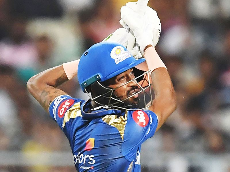 Mumbai Indians' Hardik Pandya plays a shot