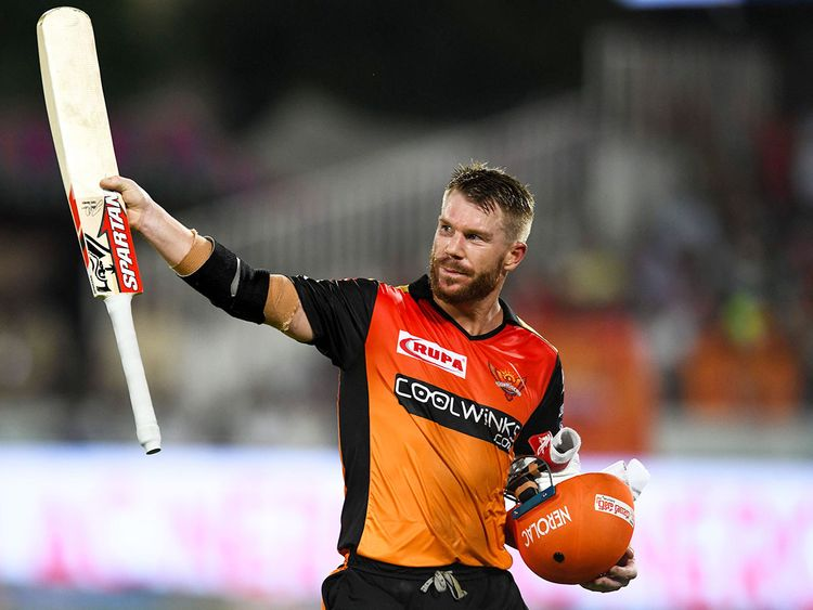 Sunrisers Hyderabad's David Warner gestures