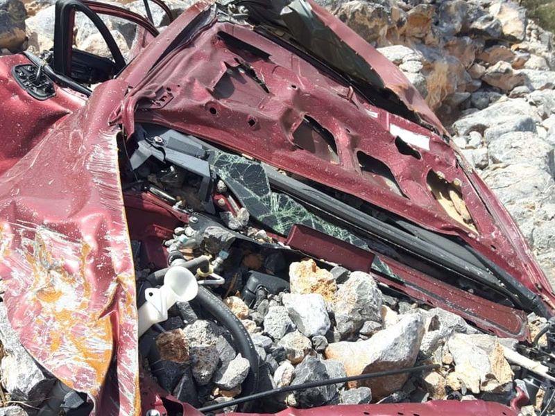 Mohammad Riaz Ahmad's mangled car