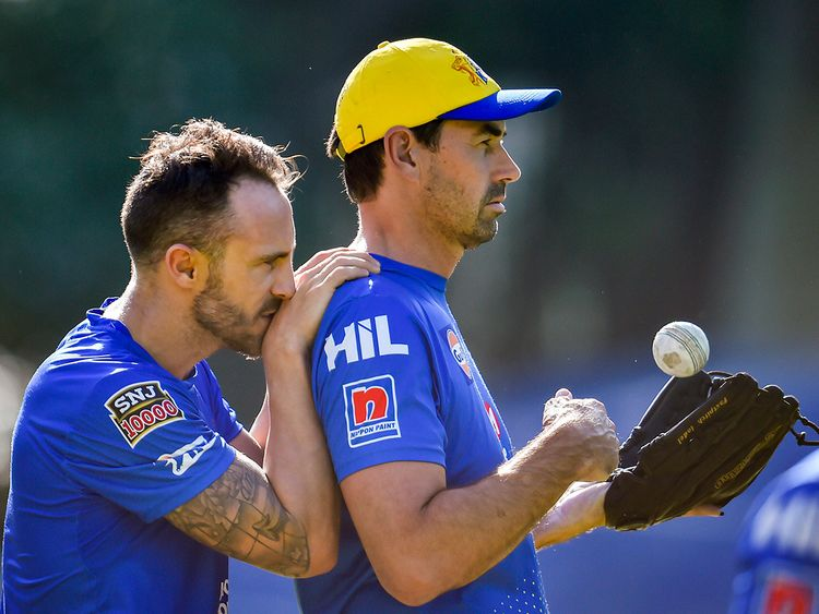 Faf du Plessis with coach Stephen Fleming