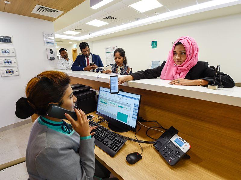 Staff busy during the rush hour at a hospital in Al Ghusais, Dubai.